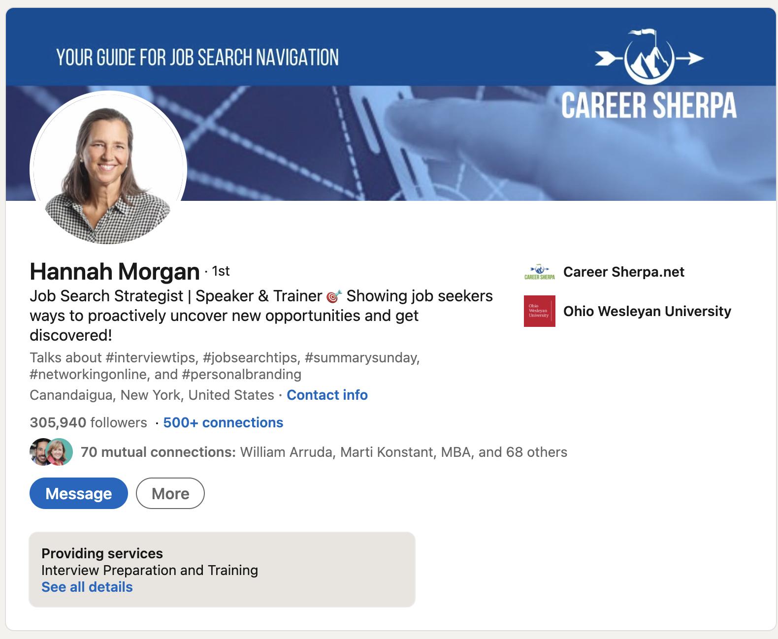 Hannah Morgan LinkedIn profile