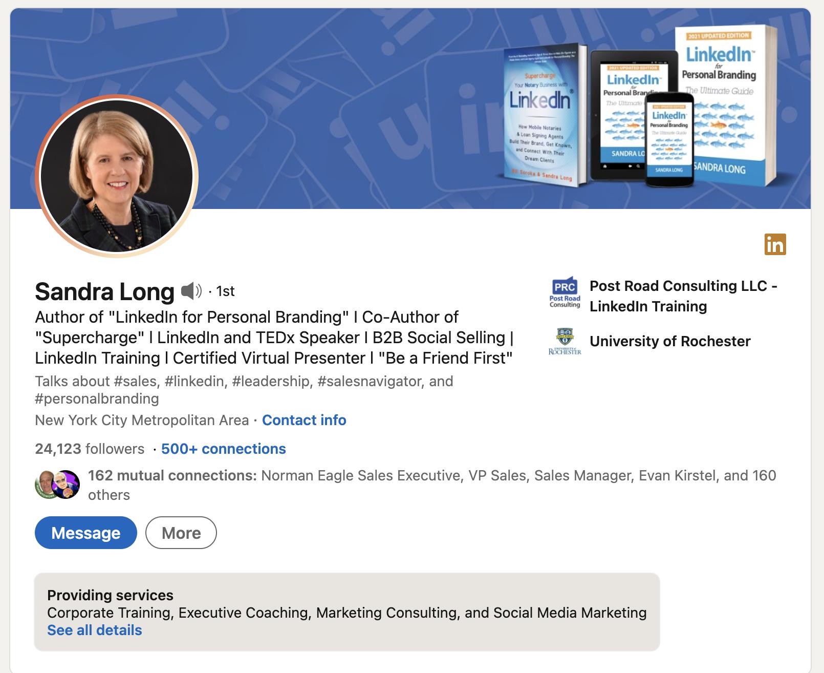 Sandra Long LinkedIn profile